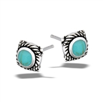 Sterling Silver Bali Style Stud Earring With Synthetic Turquoise