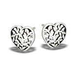 Sterling Silver Tree Of Life Stud Heart Earring
