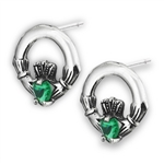 Sterling Silver Claddagh Stud Earring with Synthetic Emerald