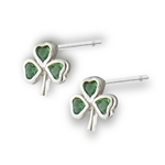 Sterling Silver Shamrock Stud with Synthetic Emerald