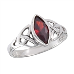 Sterling Silver Celtic Ring with Synthetic Garnet
