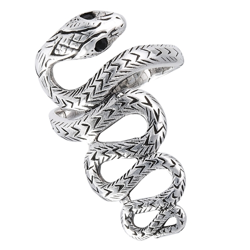 sterling silver snake ring with synthetic black onyx