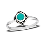 Sterling Silver Bali Style Braided Ring With Synthetic Turquoise