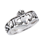 Sterling Silver Claddagh Ring with Weave