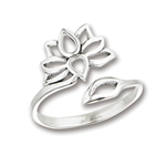Sterling Silver Adjustable Lotus Flower Ring
