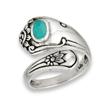 Sterling Silver Spoon Ring with Synthetic Turquoise and Flowers