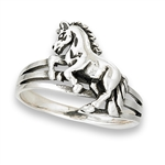 Sterling Silver Horse Jumping Fence Ring