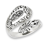Sterling Silver Spoon Ring With Rose