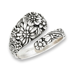 Sterling Silver Spoon Ring With Flowers