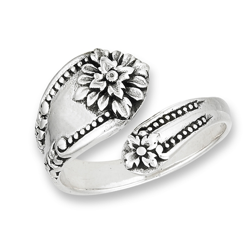 sterling silver spoon ring with flower