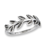 Sterling Silver Alternating Leaves Ring