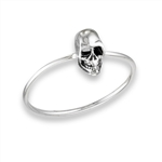 Sterling Silver Skull With Hollow Eyes Ring