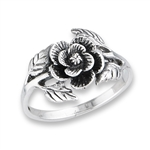 Sterling Silver Rose With Leaves Ring