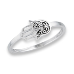 Sterling Silver Small Hamsa Ring