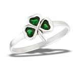Sterling Silver Shamrock Ring With Simulated Emerald