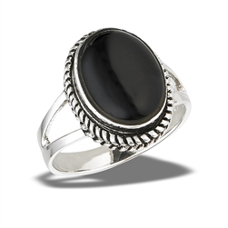 Sterling Silver Bali Style Ring With Double Shank And Synthetic Black Onyx