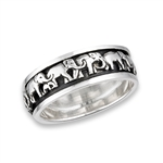 Sterling Silver Herd Of Elephants Marching Spinning Ring
