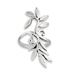 Sterling Silver Swirly Leaves Ring
