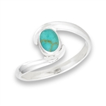 Sterling Silver Cradled Oval Synthetic Turquoise Ring