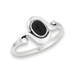 Sterling Silver Modern Ring With Synthetic Black Onyx