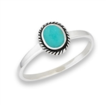 Sterling Silver Braided Bali Style Oval Ring With Synthetic Turquoise