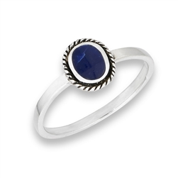 Sterling Silver Braided Bali Style Oval Ring With Synthetic Sodalite