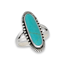 Sterling Silver Synthetic Turquoise Ring With Dots And Braiding