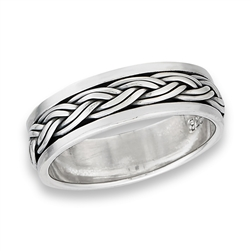 Sterling Silver Interwoven Spinning Ring