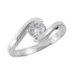 Sterling Silver Ring with Clear CZ