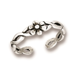Sterling Silver Flower with Weave Toe Ring