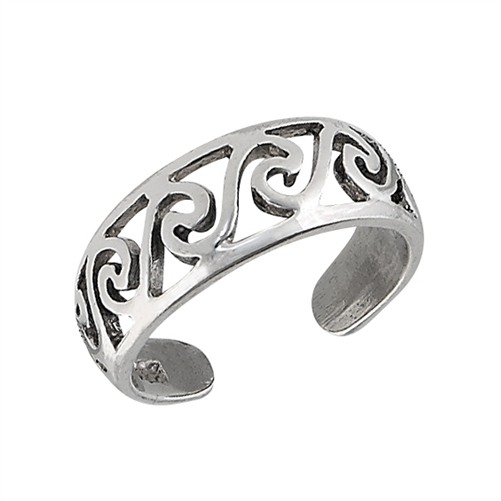 wholesale sterling silver filigree swirl toe ring 7 mm