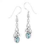 Sterling Silver Celtic Earring with Synthetic Blue Topaz