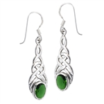 Sterling Silver Celtic Earring with Synthetic Emerald