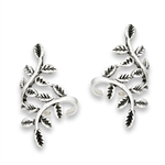 Sterling Silver Mirrored Leaves Ear Cuff