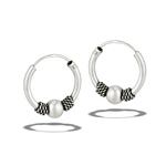 Sterling Silver 2 mm x 17 mm Bali Hoop Earring