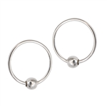 Sterling Silver 1 mm x 13 mm Ball Hoop Earring