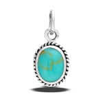 Sterling Silver Braided Oval Pendant With Synthetic Turquoise