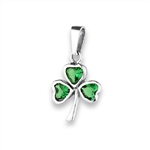 Sterling Silver Shamrock Pendant with Synthetic Emerald