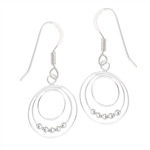 Sterling Silver Triple Circle With Beads Earring