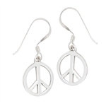 Sterling Silver Peace Sign Earring