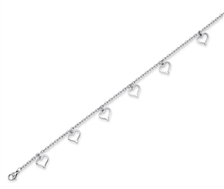 Stainless Steel Anklet With Hearts