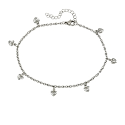 Stainless Steel Anklet With Dangling Hearts
