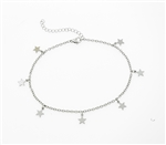 Stainless Steel Anklet With Dangling Stars