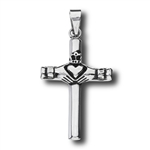 Stainless Steel Claddaugh Cross Pendant