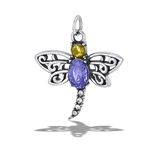 Stainless Steel Dragonfly Pendant With CZS
