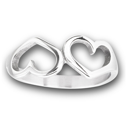 Stainless Steel Two Heart Ring