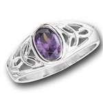 Stainless Steel Celtic Ring with Lavender CZ