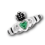 Stainless Steel Claddagh Ring with Green CZ