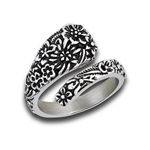 Stainless Steel Spoon Ring With Flowers