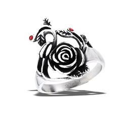 Stainless Steel Rose Ring WIth Two Red CZs